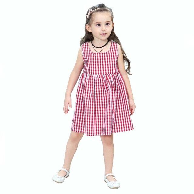 9be3be9a3b7e9 Petit bébé filles été robe à carreaux enfant Sundress vacances fête  décontracté sans manches balançoire robe