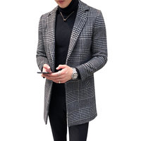 High Quality Fashion Plaid 50% Wool Blends Overcoat Men Slim Fit Long Peacoat Male Winter Wool Trench Coat Plus Size L 4XL