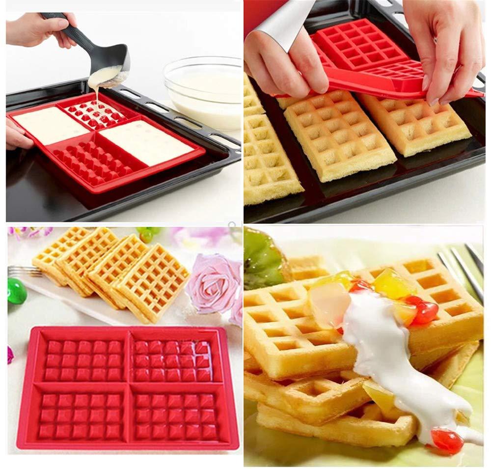 ERMAKOVA Silicone Waffle Mold Cake Mold Silicone Waffle Maker Candy Soap Baking Tray Mold Bakeware Kitchen Baking Tool