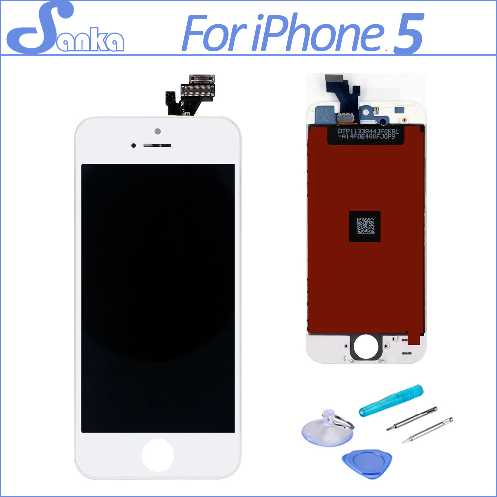SANKA for LCD iPhone 5 Screen LCD Touch Screen With Display Digitizer Ecran Assembly Replacement Mobile Phone Parts White Tools