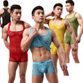 Men's Translucent Sexy Fishnet Breathable T-shirt Casual Home Furnishing Tank Tops( not Include Shorts)