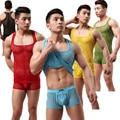 Translúcido Sexy Arrastão Respirável dos homens T-shirt Ocasional Mobiliário Doméstico Regatas (para não Incluir Calções)