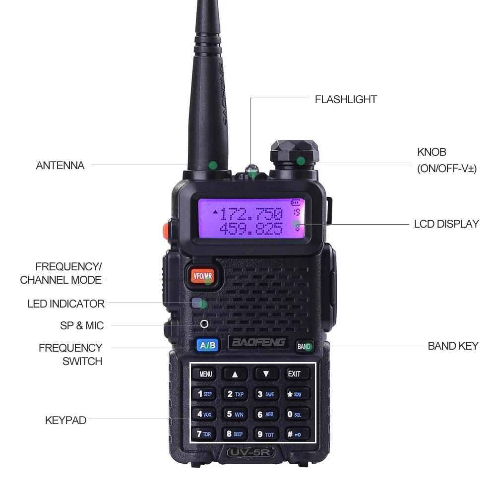(2st) Baofeng uv5r Walkie Talkie UV-5r Dual Band Handhållen 5W - Walkie talkie - Foto 5