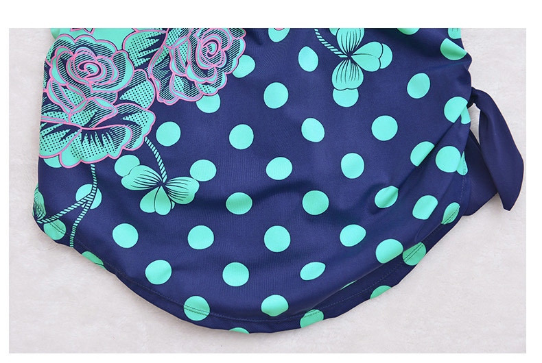 Latest ! Vintage Pad Swimwear Women Retro Plus Size One Piece Swimsuit Dress 4XL Floral Dot Backless Soft Bathing Suit F1692 25
