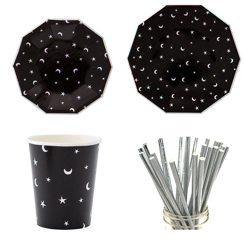 Black Paper Tableware Set Star Plates Striped Paper Straws Cups For Birthday Wedding Party Decor Disposble Tableware Xmas