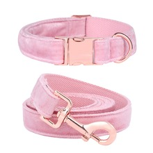 Unique Style Paws Cute Pink Puppy Personalized Christmas Blue Velvet  Dog Collar