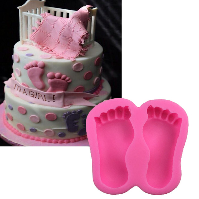 1PCS Baby Foot Shape Food Grade Silicone Chocolate, Jelly, Ice,Fondant Cake Decorating Bakeware X102