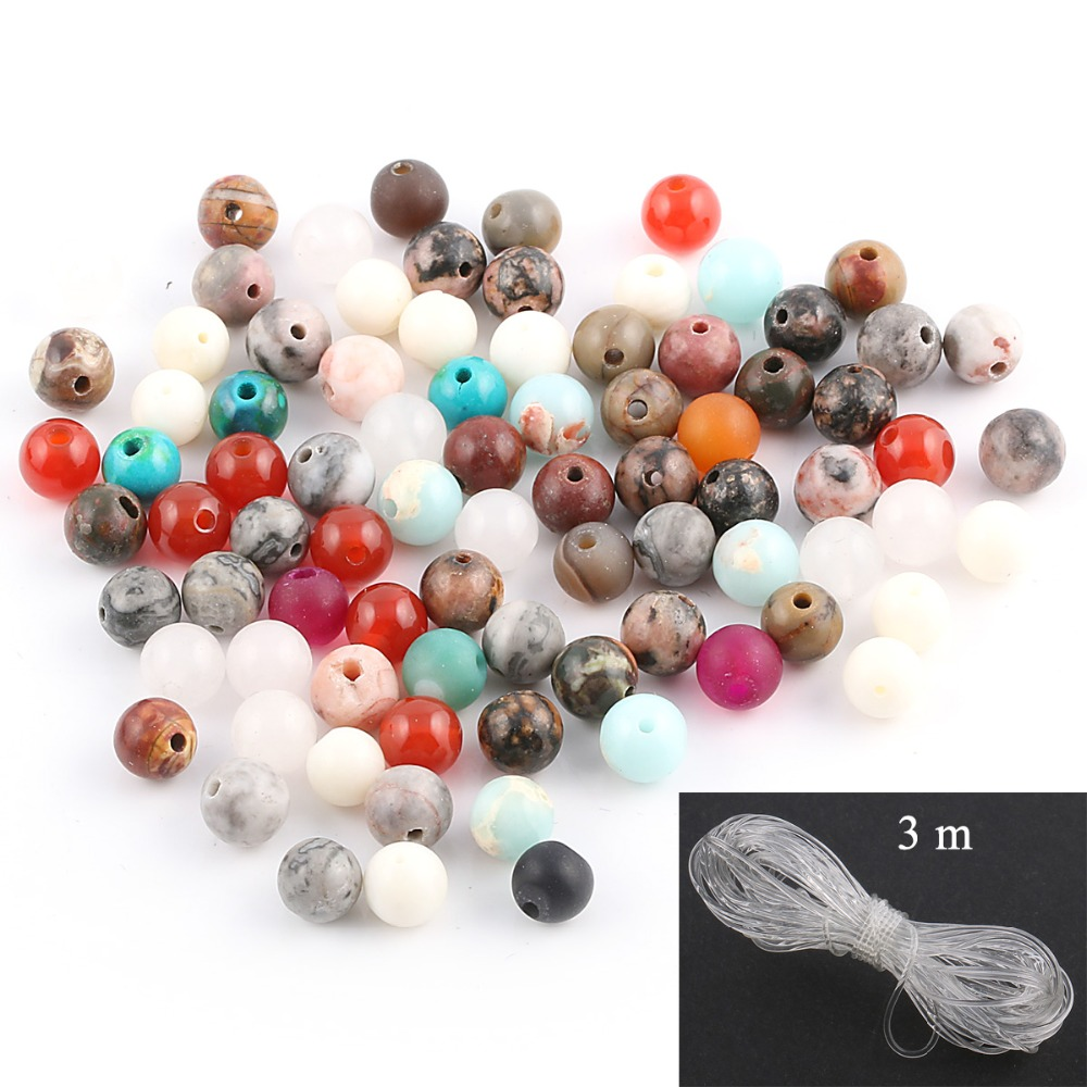 100/% Natural Stone Beads Kit 2 Stone Beads Box Set Kits 250pcs 8mm Round Loose Gemstone Natural Amethyst Rose Quartz Red Agate Larvikite Labradorite Assorted Color with Accessories Tools for Bracelet