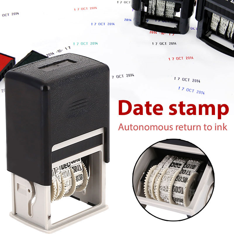 DIY Handle Account Date Stamps English Stamping Mud Set SCHOOL Seal Home Student Retro Convenient Art Dater Office