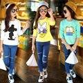 2017 primavera outono crianças meninas blusa roupa dos miúdos dos desenhos animados garfield mickey pato donald manga longa camiseta baby girl clothing
