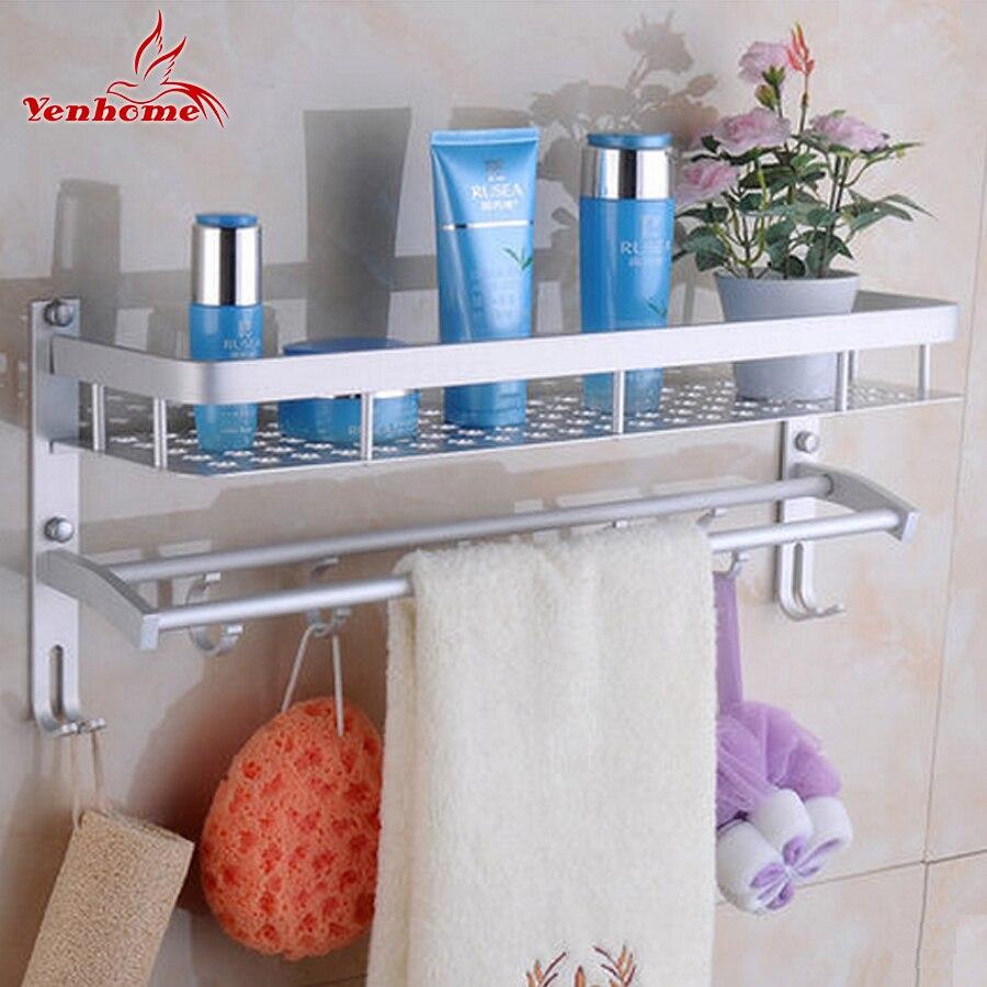space aluminum bathroom shelf wall mounted double layer storage holder rack household rectangle bath shelves basket