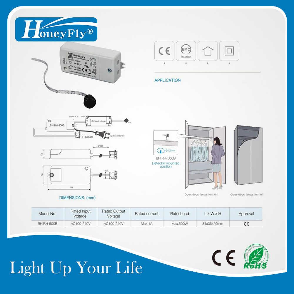 Honeyfly Ir Sensor Schakelaar 500W 100-240V (Max.100W Voor Leds) infrarood Licht Switch Motion Sensor Intelligente Auto On/Off 5-10 Cm