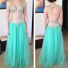 XGGandXRR Luxury Mint Crystal Prom Dresses 2018 Dress For