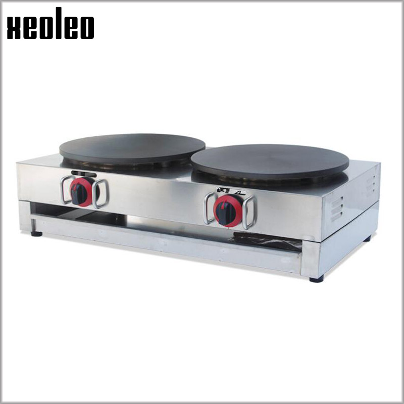 Xeoleo Double pans Gas Pancake machine Stainless steel Crepe maker Commercial French Crepes machine Commercial Naan Bread Maker fast food leisure fast food equipment stainless steel gas fryer 3l spanish churro maker machine