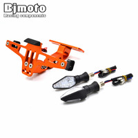 BJMOTO CNC Aluminum Motorcycle License Plate Licence Plate Holder Number With Led Turn Signal Light For