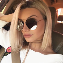 Fashion Women Sunglasses Brand Original Designer irregular shape Mirror Flat Panel Lens Summer Shades sun glasses for ladies