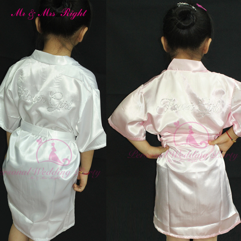 New Arrival Girl Solid Robe Bathrobe Dressing Gowns For Little Women Customizable Flower Girl Party Clothes Satin Kimono Pajamas