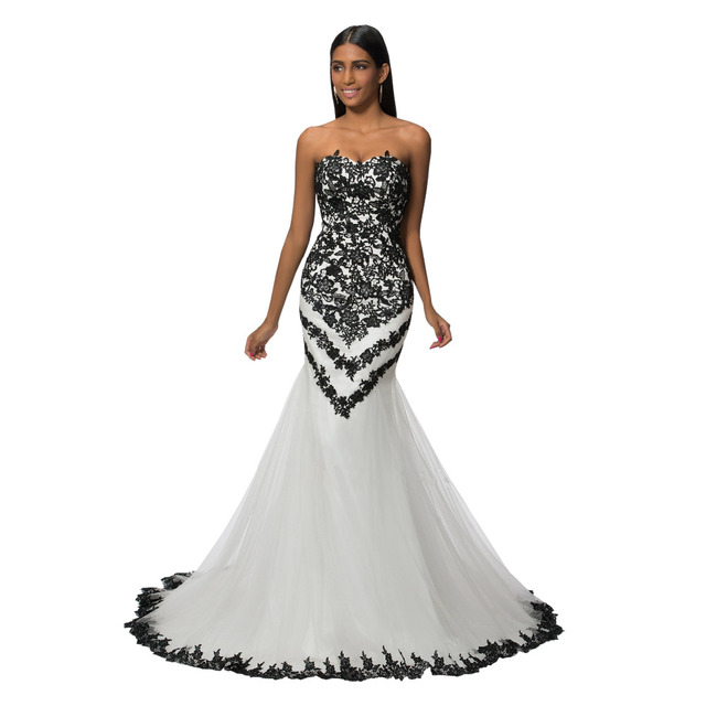 Sexy Black And White Wedding Dresses 2017 Cheap Sweetheart Lace Applique Court Train Mermaid Plus Size