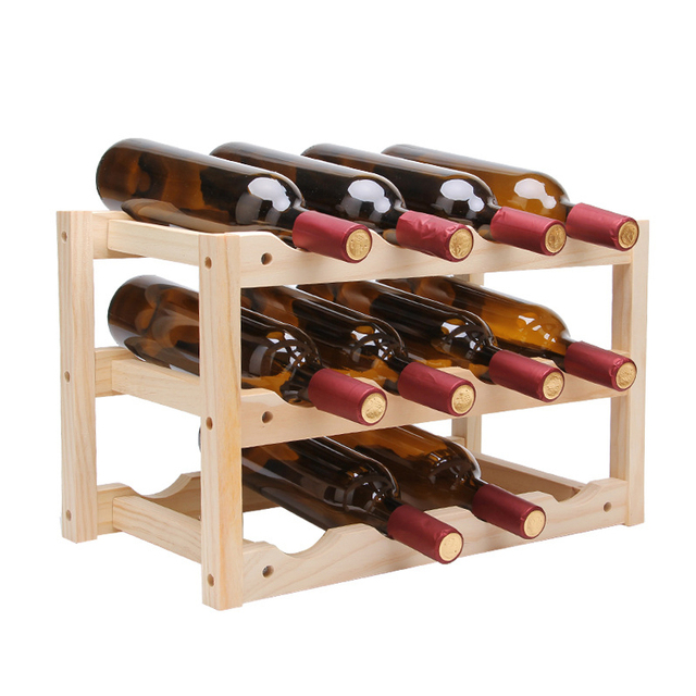 Solid Wood Creative Simple Wine Rack Durable Folding Red Wine Stand