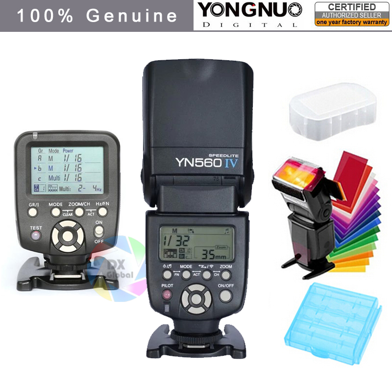 Yongnuo YN560IV YN560 IV YN 560 Flash արագություն Canon Nikon- ի համար YongNuo 560TX Flash Trigger- ով
