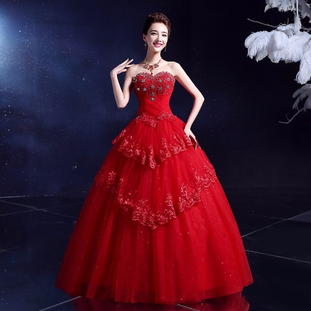 LYG Y10RThe New 2017 Red White Maxi Wedding Dress Manufacturers Selling Lace Photographic