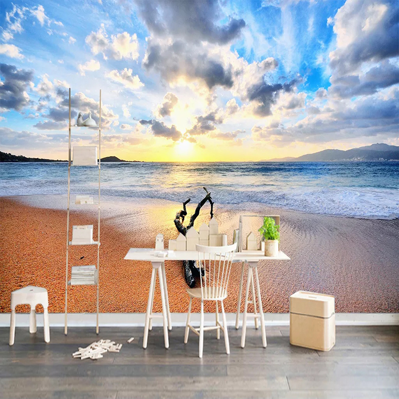 Custom 3D Wallpaper Murals Sandy Beach Seascape Sunrise Scenery Photo Mural Modern Living Room Sofa TV Background Wall Painting