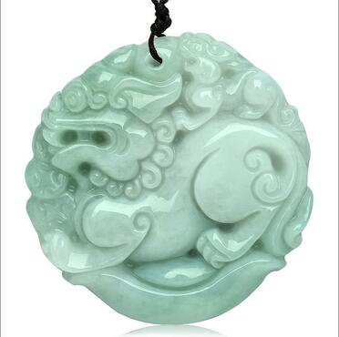 Grade A pendant Pure manual sculpture god beast kirin pendant Collocation of bead string necklace charm male style