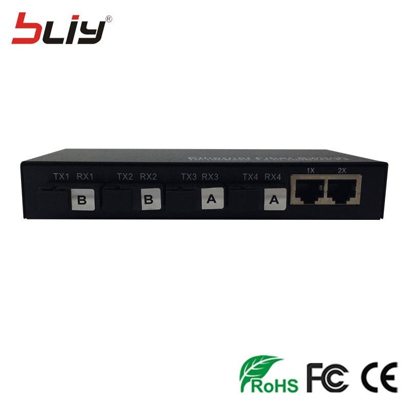 imágenes para 4 puertos VLAN interruptor DIP fibra a rj45 convertidor de medios 10/100 M 4 de fibra y 2 rj45 CAT5/6 VLAN fast ethernet de fibra óptica interruptor
