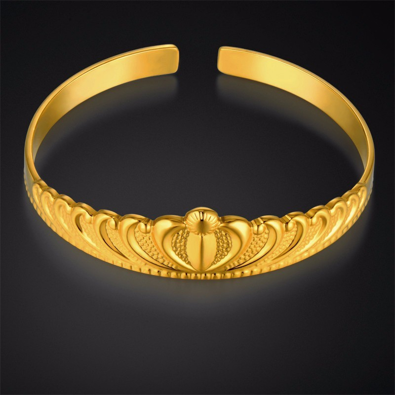 Womens Bangles Gold Crown Bangle & Bracelet For Women Wholesale Braslet 2017 Gold Color Cuff Bracelets Female