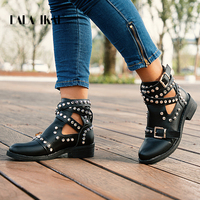 LALA IKAI Women Black Ankle Boots Buckle Strap Rivet Shoes Female Pu leather Motorcycle Boots Autumn Punk Boots XWA5139 4