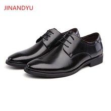 JINANDYU Brand Classic Man Pointed Toe Dress Shoes Men Leather Black Wedding Shoes Oxford Formal Shoes for Men Business Oxfords недорго, оригинальная цена