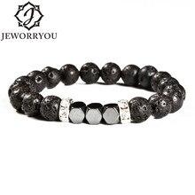 New Arrive 4colour Natural volcanic stone bracelet 6-10mm  fashion bracelet domineering men's jewelry gift for men