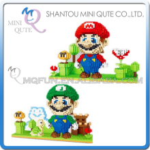 2pcs/lot Mini Qute YZ japanese anime game super mario luigi kids diamond block plastic building block boys educational gift toy