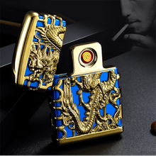 Free shipping cigarette accessories dragon embossed tiger rechargeable windproof lighter fashion elegant usb