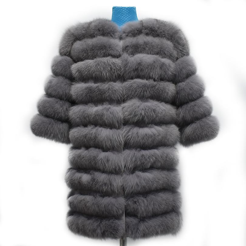 2018 Réel de fourrure de Renard manteau femmes gris à manches courtes Gilet amovible Transformer Gilet Mode De Luxe Épais Manteau Chaud Veste Solide fourrure