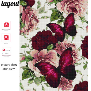 Huacan DIY Diamond Painting Butterfly And Flower 5D Full Square Rhinestone Diamond Embroidery Mosaic Cross