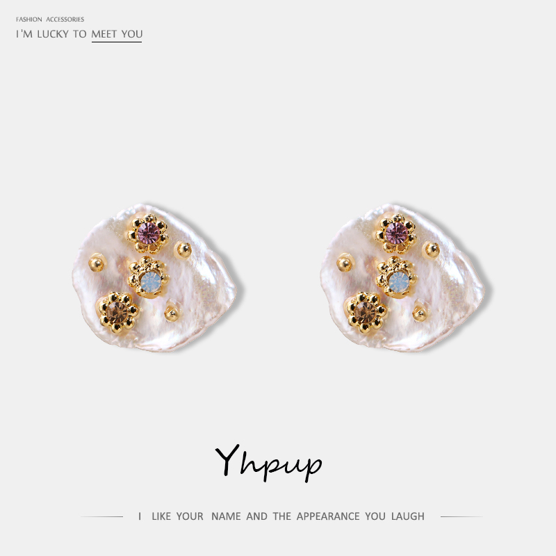Yhpup Trendy Baroque Natural Pearls Stud Earrings Luxury Rhinestone Crystal Copper Brincos Female Party Jewelry S925 Gift 2019