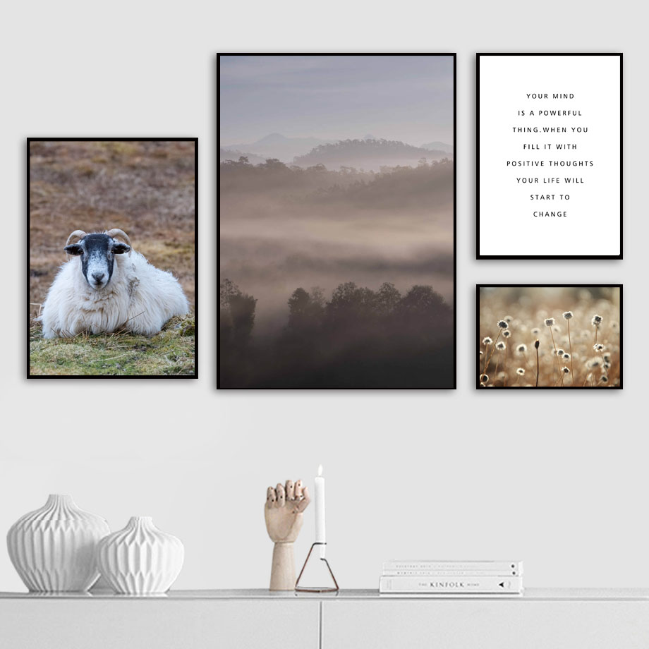 Forest Mountain Wildflower Goat Landscape Wall Art Canvas Painting Nordic Posters And Prints Pictures For Living Room Decor