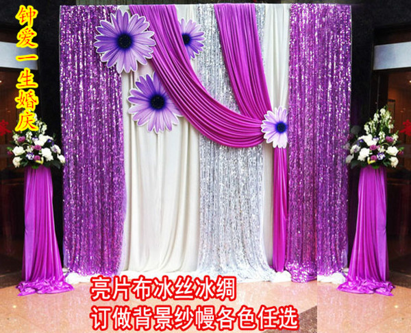Curtain Flower Background Shaman Wedding Paillette Cloth Viscose Mircofabric Decoration