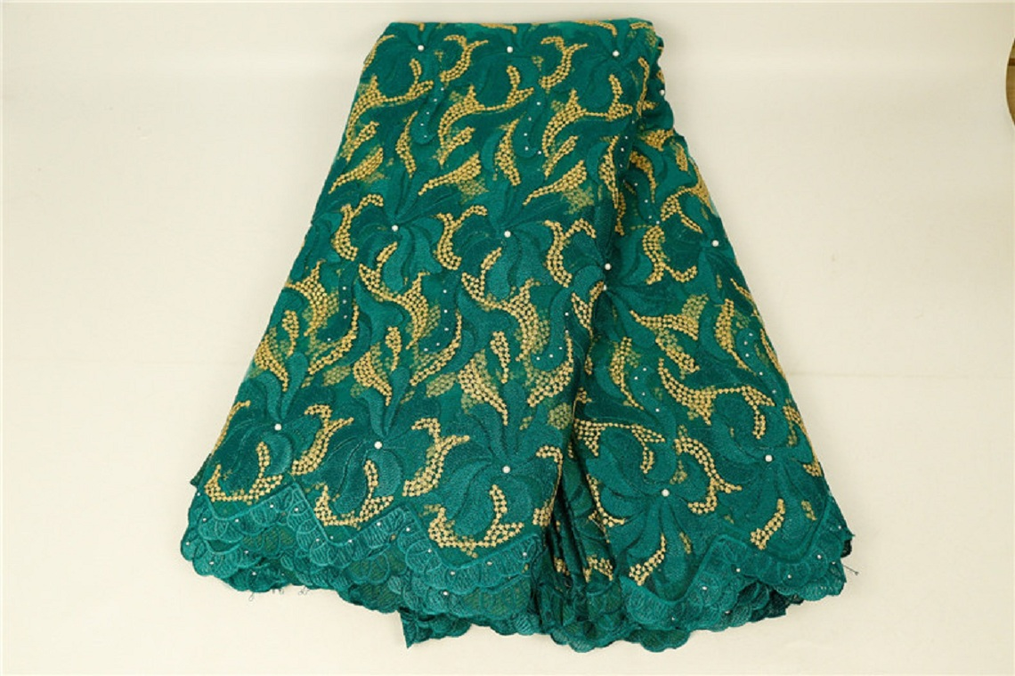 African Lace Florals Embroidery 125 Cm Width Fabric For Apparel And Fashion Sold By The 5Yard