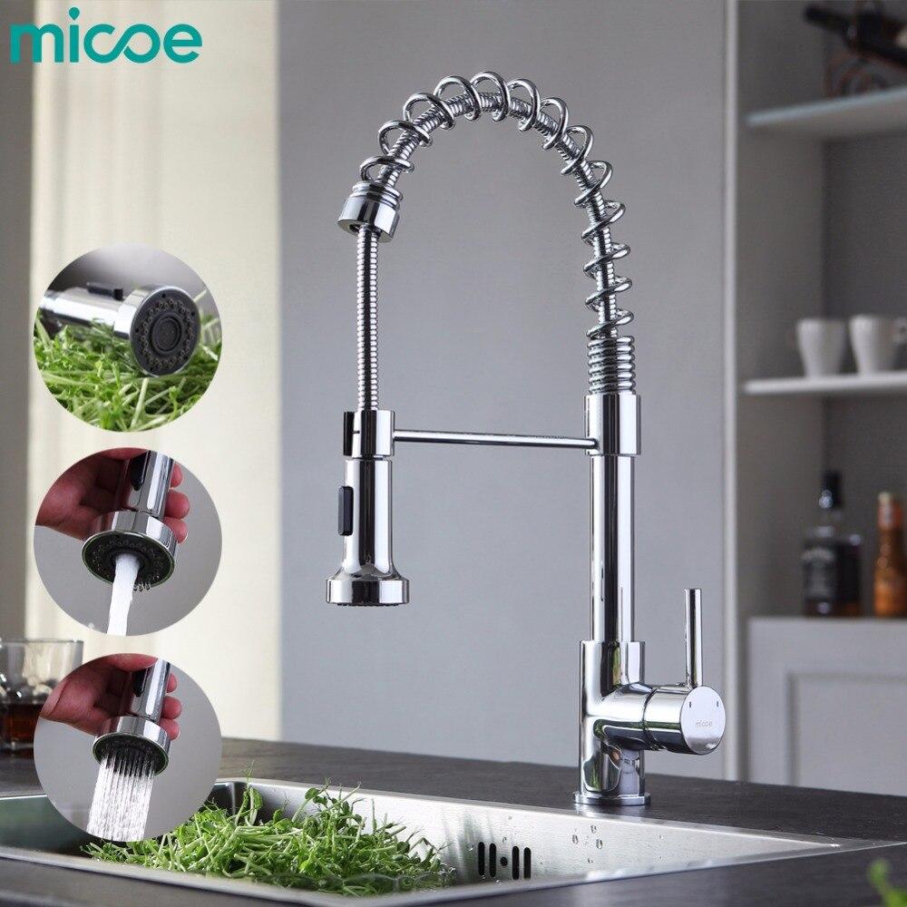 Micoe Pull-стиль горячей и холодной воды смеситель для кухни Одной ручкой на одно отверстие современный стиль хром нажмите 360 Поворотный m-HC103