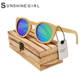 Vintage Wood sunglasses Polarized Sunglasses Men Women real Bamboo Wood Eyewear  Mirror Lenses Round Wood sunglasses