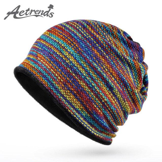 [Aetrends] 2017 зимние шапочки воротник шарф Для женщин или Для мужчин хип-хоп Шапки теплые с бархатом внутри Z-5008