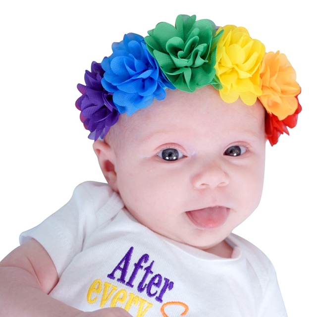 c71a6a9c448 2pcs lot Baby Girl Headbands Elastic Rainbow Colorful Chiffon Flowers  Headband Kids Hairbands Children hair Accessories H166