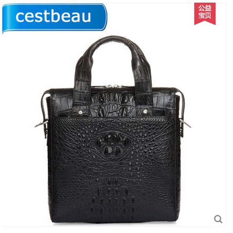 2019 Cestbeau handmade alligator skin men single-shoulder business men handbag men crocodile bag Vertical type square men bag