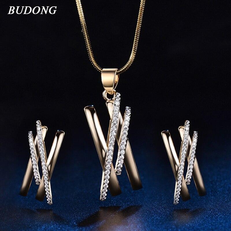 BUDONG Infinity Ženske ogrlica Kovinske uhane Izjava križni nakit za ženske Punk Ženske nakit XUT033A