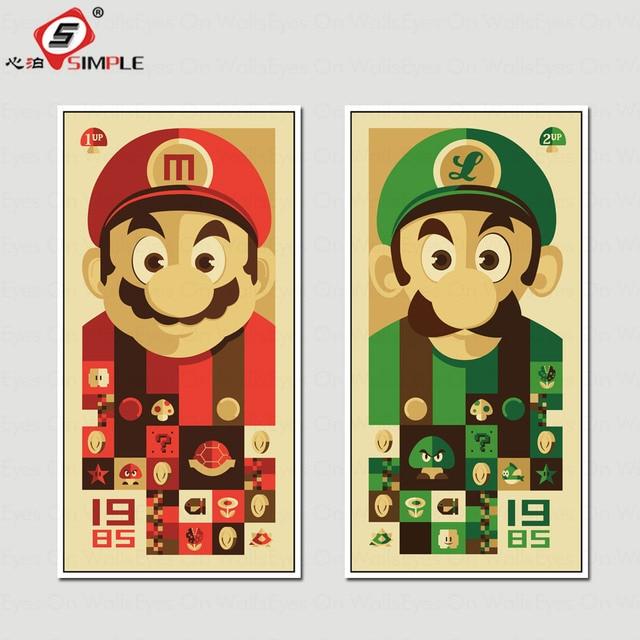 No Frame 2 Panel Cartoon Super Mario Bros Print Poster Canvas ...