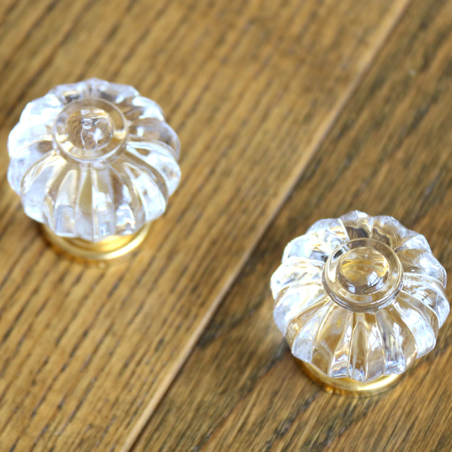 35mm Kichen Cabinet S Clear Acrylic Drawer Pulls Gold Zinc Base Dresser Furniture Handles Pumpkin
