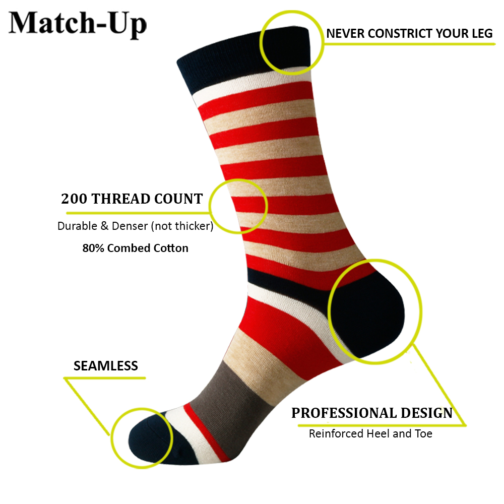 Image 2 - Match Up Men Colored color stripes Cotton  Socks argyle Casual Crew Socks (5 Pairs/Lot) US 7.5 12-in Men's Socks from Underwear & Sleepwears