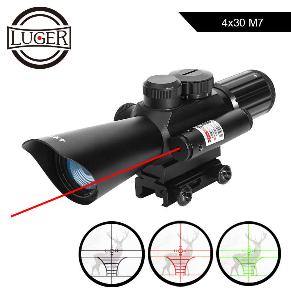 LUGER Optic Sight 4X30 M7 Riflescope Red Laser Sight Scope Tactical Illumination Reticle Prism Scope Sniper Collimator Sight
